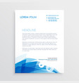 Abstract blue letterhead design template vector image