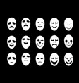 set of white ghost face mask in flat style vector image