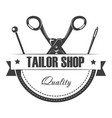 tailor shop of high quality emblem with equipment vector image