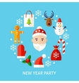 New Year Party Flat Concept vector image
