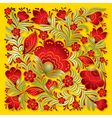 abstract red floral ornament on a yellow vector image