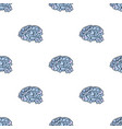 Brain in the virtual reality icon in cartoon style vector image