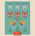 Christmas greeting card with knitted foxes deers vector image