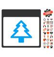 fir tree calendar page icon with love bonus vector image