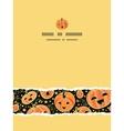Halloween pumpkins vertical torn frame seamless vector image