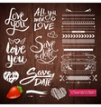 Love Texts Borders Symbols on Wooden Background vector image