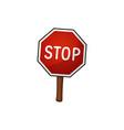 road sign stop cartoon vector image