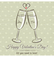 valentine card with two glass of wine vector image