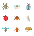 Order of insects icons set cartoon style vector image