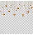 Gold glitter valentine hearts on transparent vector image