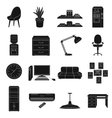Office furniture and interior set icons in black vector image