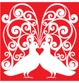 whitekissing doves heart symbol love concept vector image