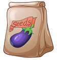 A pouch of eggplant seeds vector image