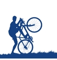 Silhouette of a cyclist on the grass vector image