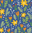 Blue background seamless pattern with colorful vector image vector image