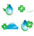 Water and green leaf ecology set vector image
