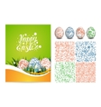Set of Easter card folk seamless pattern and vector image