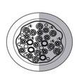 sticker contour pizza icon vector image