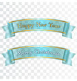 Merry Christmas Happy New Year ribbons vector image vector image