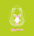 happy easter with bunny inside egg cage vector image vector image