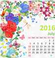 Calendar for 2016 july vector