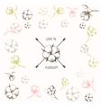 Cotton flower with crossed cotton swabs vector image