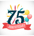 anniversary 75 years template with ribbon vector image