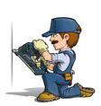 Handyman Nailing Blue vector image