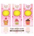 Happy Birthday card set with cupcake vector image
