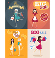 Set of sale posters in retro style Girl or woman vector image
