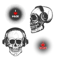 Set of the hand drawn skulls in headphones vector image