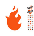 fire icon with lovely bonus vector image