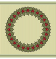 Retro Christmas background with a wreath of holly vector image vector image