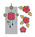 chinese paper lantern coins for luck and red vector image