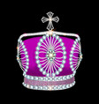 shiny crown of silver platinum and precious stones vector image