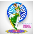 Female dancer dancing on Indian background showing vector image