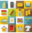 laundry icons set flat style vector image