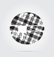 Grayscale tartan icon - hamburger melted cheese vector image