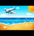 An airplane at the beach vector image
