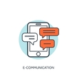 Flat lined smartphone with messages Communication vector image