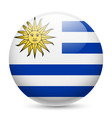 Round glossy icon of uruguay vector image