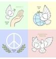 Set symbols with a white dove vector image