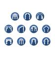 Arched gateways round blue icons set vector image