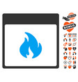 fire calendar page icon with dating bonus vector image