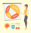presenting business diagram and graph vector image