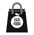 Eco food bag icon simple style vector image