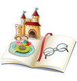 A book with a castle and a reading glasses vector image