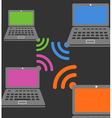 Laptop wireless connection composition vector image