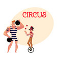 circus performers - strong man and clown juggling vector image