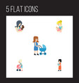 flat icon mother set of mother perambulator baby vector image